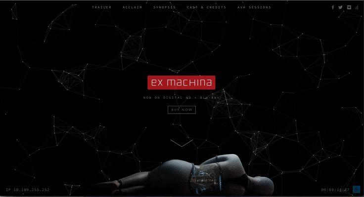 http://exmachina-movie.com/ Dit is het eerste beeld dat je te zien krijgt als je de site opent, ook dit heeft eenvoudige opstelling en er wordt niet veel vrijgegeven.