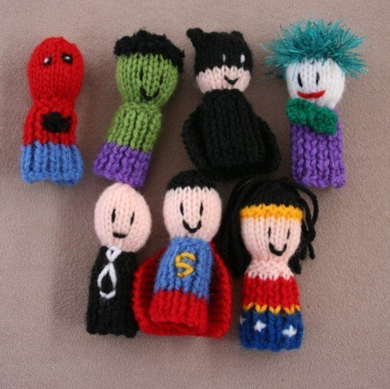 superhero knitted finger puppets are the patterns there I make them to give kids at the hospitals and doctors offices