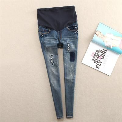 1f5f451049d6b Elastic Waist Hole Stretch Denim Maternity Belly Jeans Autumn Spring Pants  Clothes for Pregnant Women Pregnancy Pencil Trousers