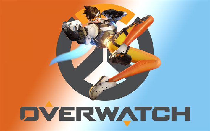 Download wallpapers Overwatch, logo, art, characters, Tracer