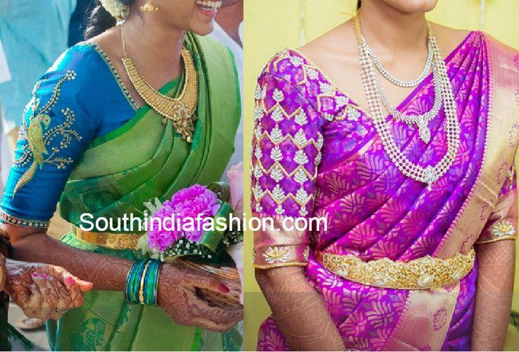 elbow length sleeves wedding blouse designs | Blouse ...