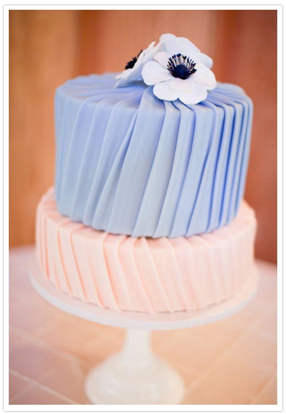 Soft blue and blush wedding cake