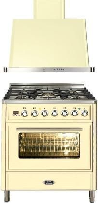 """2-Piece Antique White Kitchen Package with UMT76DVGGW 30"""" Freestanding Gas Range (5 Burners Infrared Grill Baking Timer) and UAM76A 30"""" Wall Mount Range Hood"""