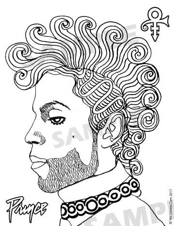 Prince curly mohawk digital downloadable coloring page Coloring book artist