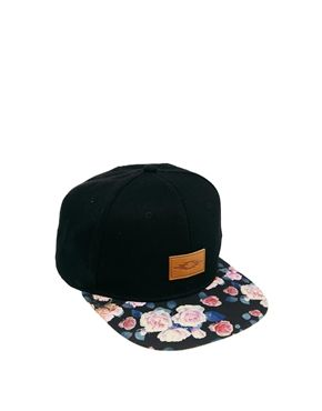 ASOS Snap Back Cap with Floral Peak