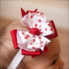 Valentine's Day Headband Red Heart Bow Baby Headband by KinleyKate