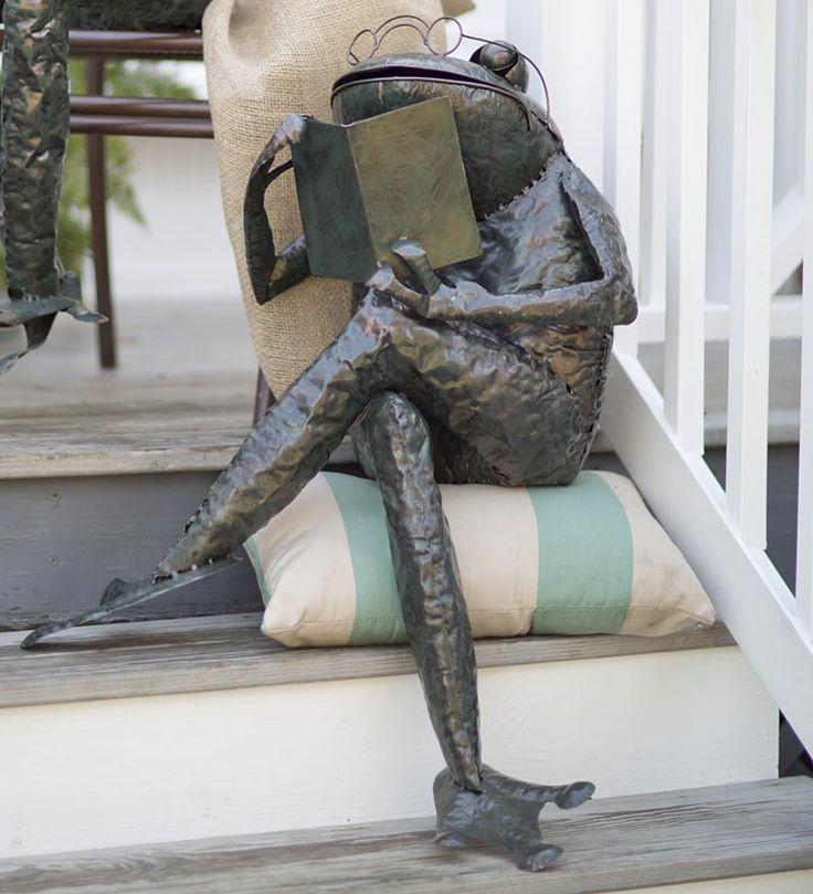 Small Reading Frog Metal Yard Sculpture; $199.95 U2022 Sitting Frog Statue W/  Book.
