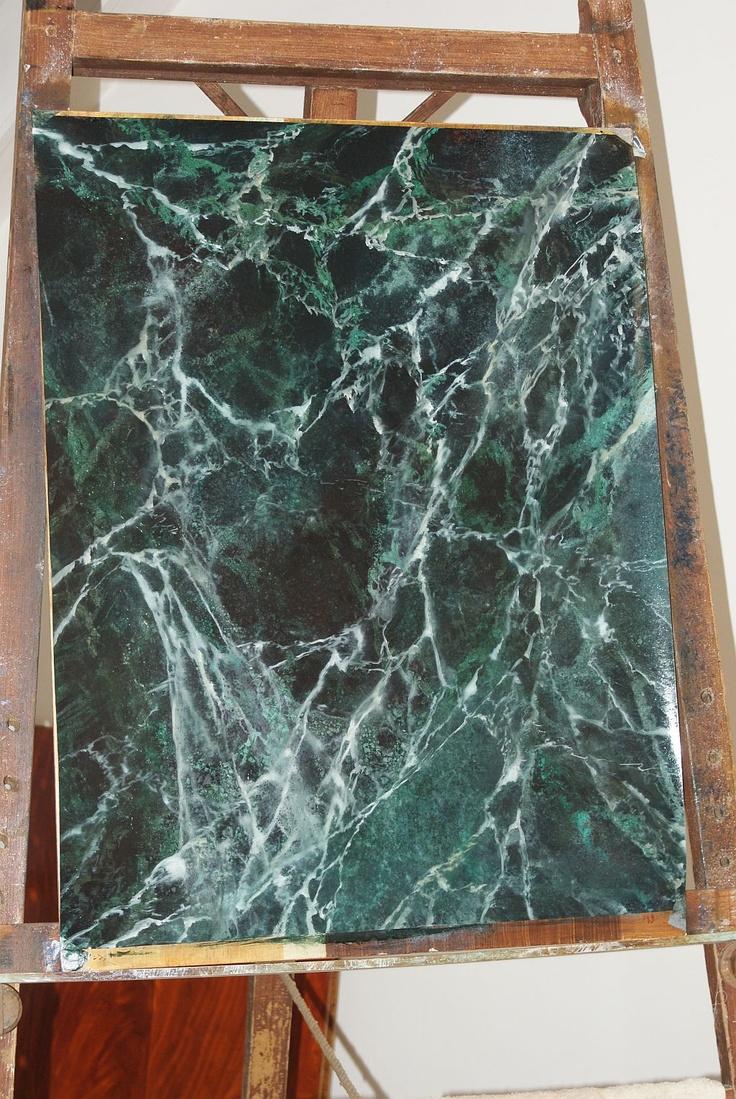 Faux marble panel Vert de mer, painted by Lut Gielen. www.lutgielen.nl