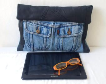 recycled denim jeans clutch bag large denim clutch upcycled