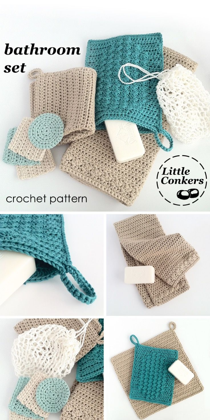 Crochet pattern includes plain and textured wash cloths in different sizes, a wash mitt, a hand towel, cleansing pads and a laundry bag.