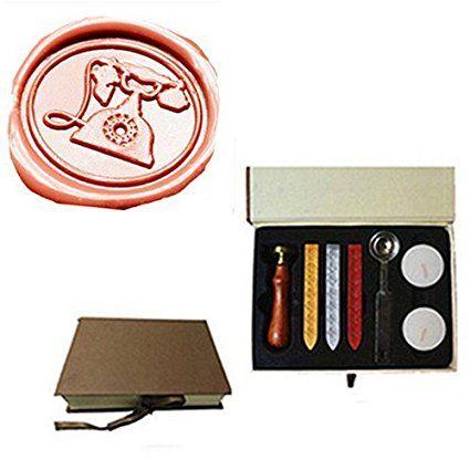 MDLG Vintage ouderwetse Telefoon Custom Foto Logo Huwelijksuitnodiging Lakzegel Afdichting Stamp Sticks Lepel Geschenkdoos Set Kit