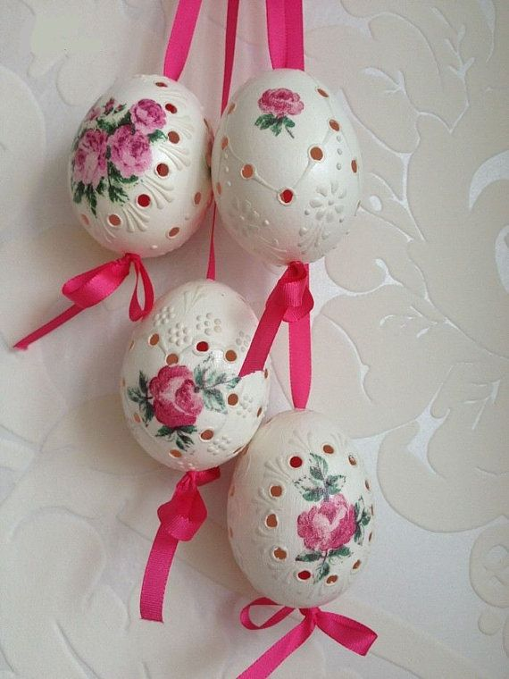 Set of 4 Hand Decorated Rose Madeira Painted Chicken Easter Egg with Ribbon, Decoupage, Drilled Traditional Slavic Wax Pinhead, Pysanka