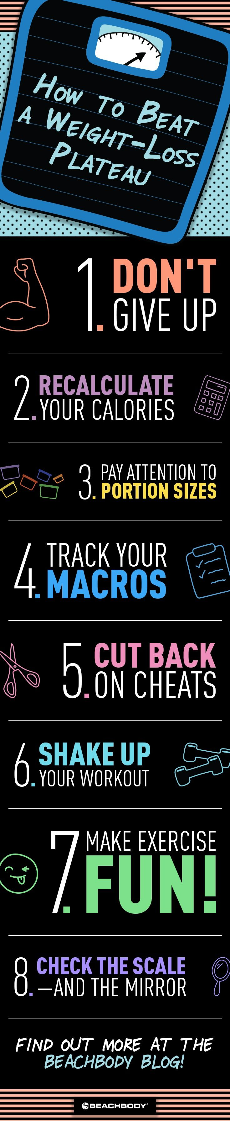 Hitting a weight-loss plateau is a common part of the process, but that doesn't make it any less frustrating — and it can be hard to stay motivated if you're not seeing any progress. When that happens, there are ways to bust through that plateau and get back to losing weight. Here are some tips, tricks, and solutions! // losing weight // fitness // exercise // nutrition // diet // Beachbody // BeachbodyBlog.com