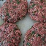Lamb burgers/patties with potato salad