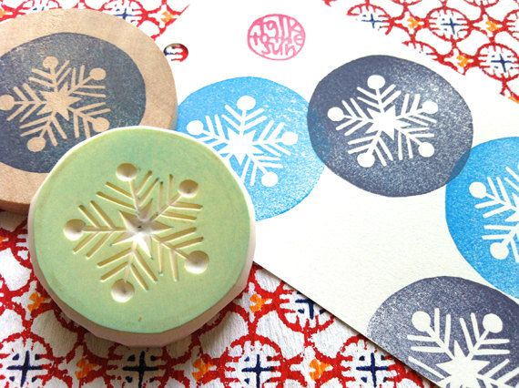 snow flake rubber stamp. hand carved rubber stamp. by talktothesun
