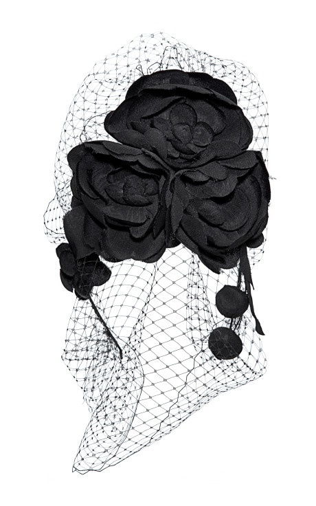 Camellia Beehive Headband With Floral Veil by Jennifer Behr Now Available on Moda Operandi