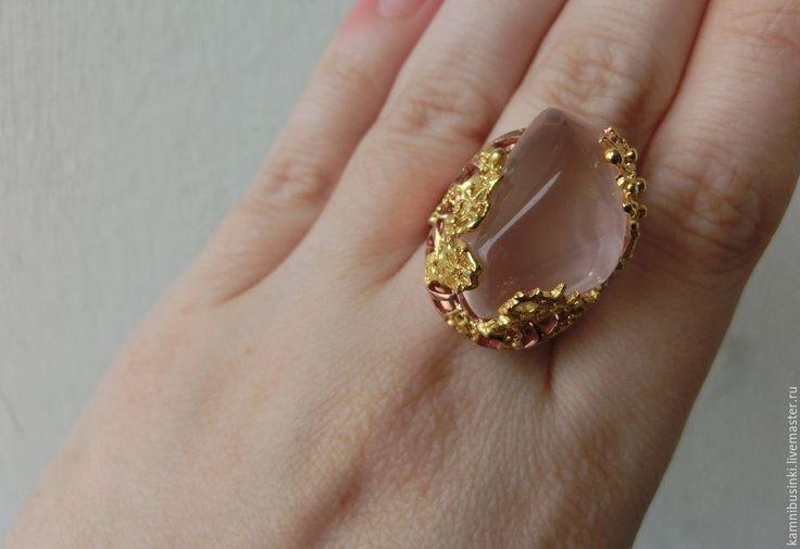 Купить 18 р-р кольцо с розовым кварцем серебро 925 золото - разноцветный