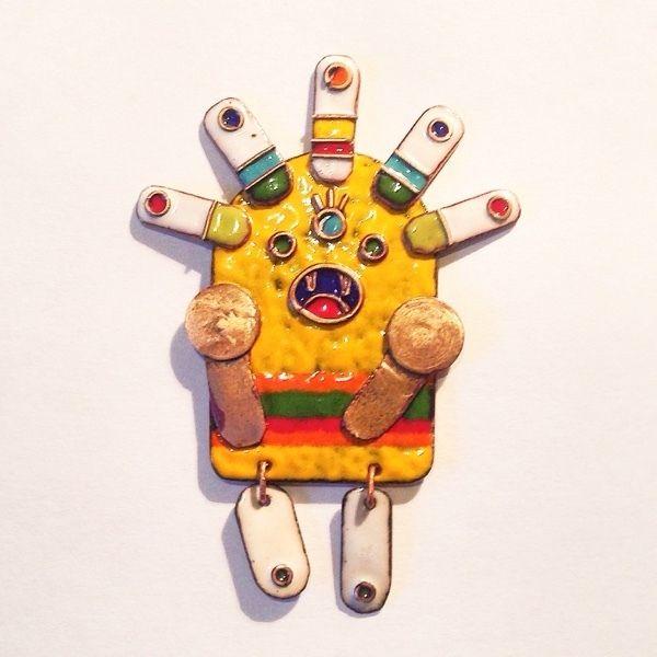 Монстро-брошь - жёлтый,ювелирные украшения,ювелирные изделия,ювелирная эмаль