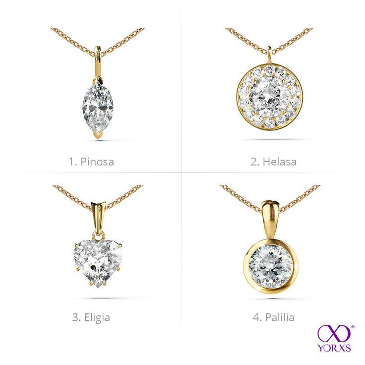 4 different kinds of gold diamond pendants #yorxs #Diamantanhänger #Gelbgold