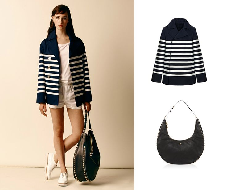 #HOGAN peacoat in white and blue sailor stripes and Traditional shoes. Discover this Women's FASHION SHOW outfit.