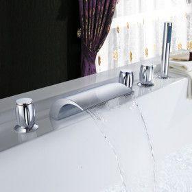 : Brass Waterfalls, Hands Shower, Bath Tubs, Bathtubs, Bathroom Faucets, Master Bath, Three Handles, Shower Three, Tubs Faucets