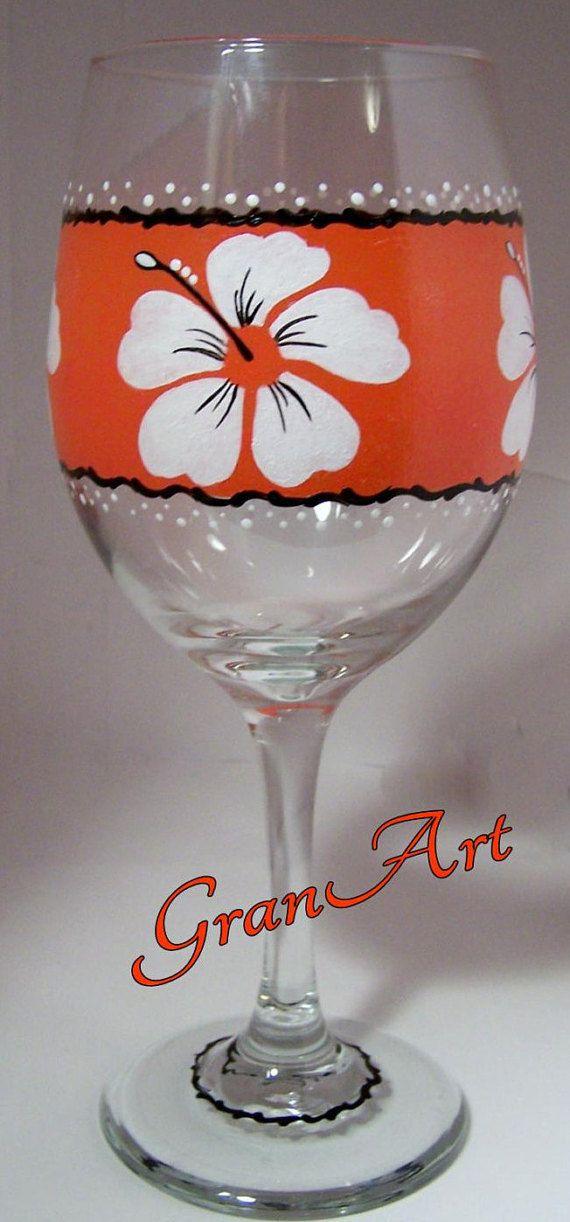 Tropical Wine Glass/Tropical/Wine Glass/Orange/Hand by GranArt