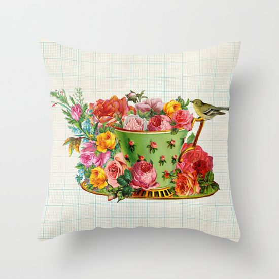 Bird on a teacup Throw Pillow