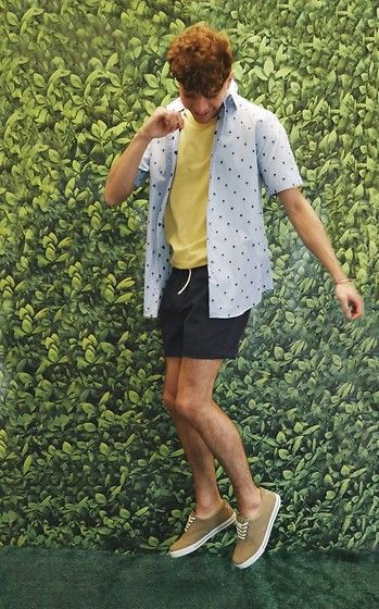 Get this look: http://lb.nu/look/8700593  More looks by Luke Heywood: http://lb.nu/curlywurlyboy  Items in this look:  Marks & Spencer Palm Print Shirt, Marks & Spencer Yellow Tee, Marks & Spencer Shorts, Marks & Spencer Pumps   #casual #chic #retro #summer #spring #short #shirt #marks