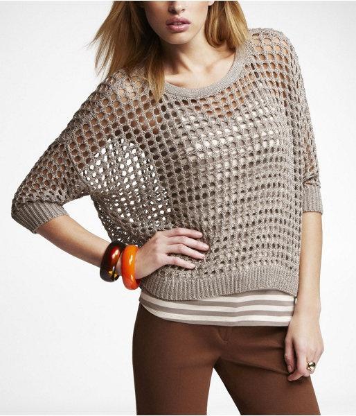 Mesh Stitch Yarn Sweater Stone | $19.99