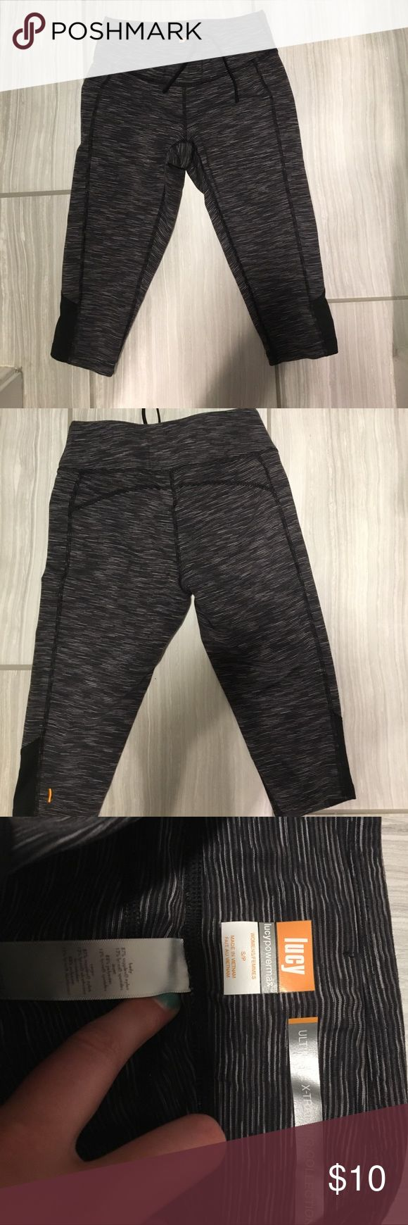 Lucy Athletic Capri leggings size small Thick stretch leggings with drawstring at waist for extra security. Fit shorter than lululemon capris. In good condition with no real signs of wear. Lucy Pants Leggings