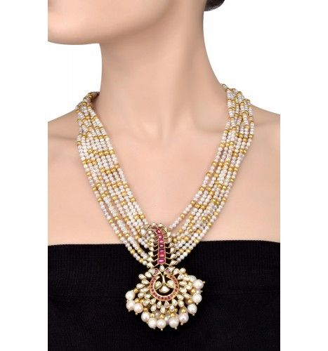 Silver Gold Plated Crystal Studded Sarpech Motif Pearl Tassel Necklace