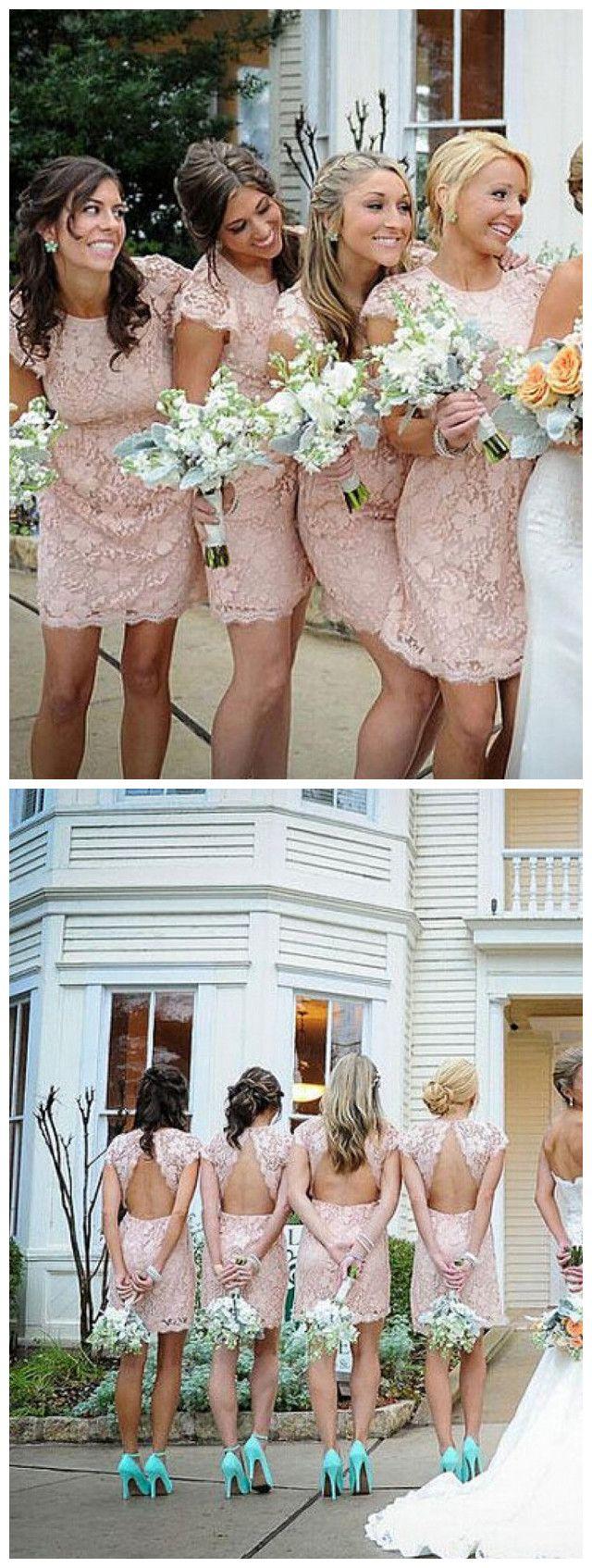 Sexy Eng Anliegendes Rundhalsausschnitt Mini Rosa Brautjungfernkleid mit Spitze