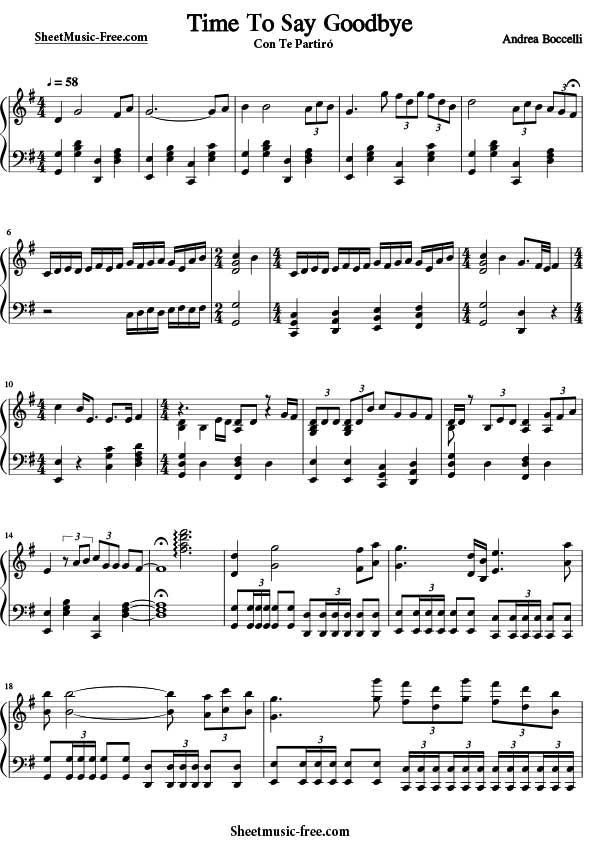 Time To Say Goodbye Sheet Music Andrea Boccelli Download