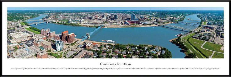Cincinnati Skyline Panoramic Picture Framed, Ohio
