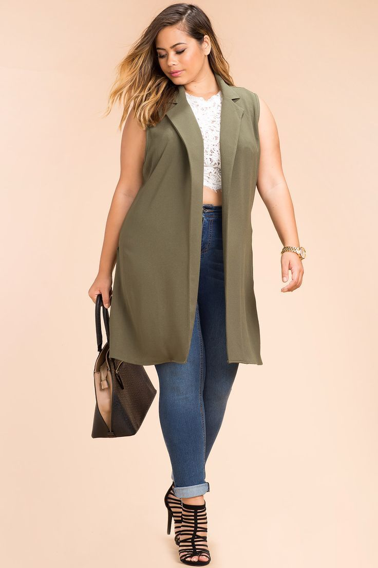Plus Size Sleeveless Trench