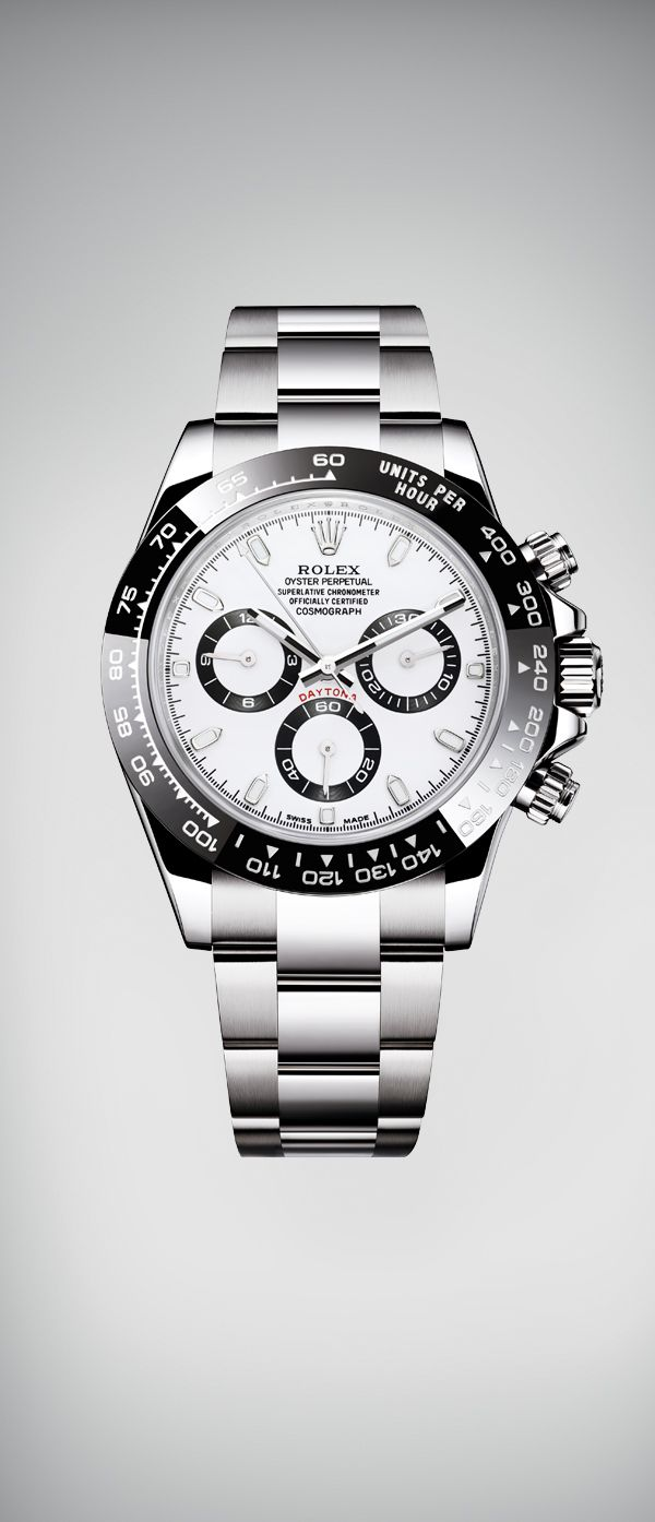 Rolex is introducing the new Oyster Perpetual Cosmograph Daytona in 904L steel, with a monobloc Cerachrom bezel in black ceramic and a white dial. This latest evolution is a blend of high technology and sleek aesthetics, and pays tribute to the heritage of this legendary chronograph.  #RolexOfficial #Baselworld2016