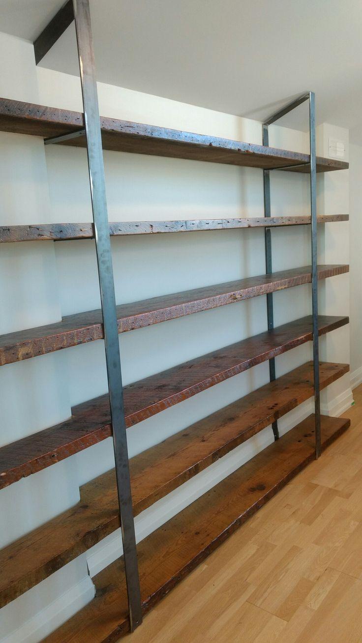 10ft century old joist. Custom design and built bookcase by Michael Simardone/ Simardone Design