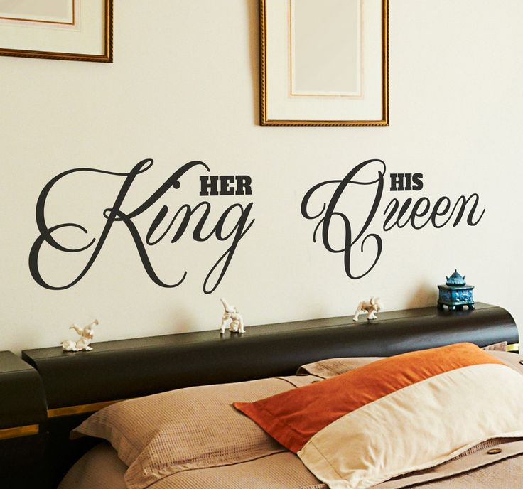 A creative design to decorate your bedroom and create a romantic atmosphere that your partner will love! Brilliant headboard decal for couples. #PowerCouple #WallSticker #BedroomDecor