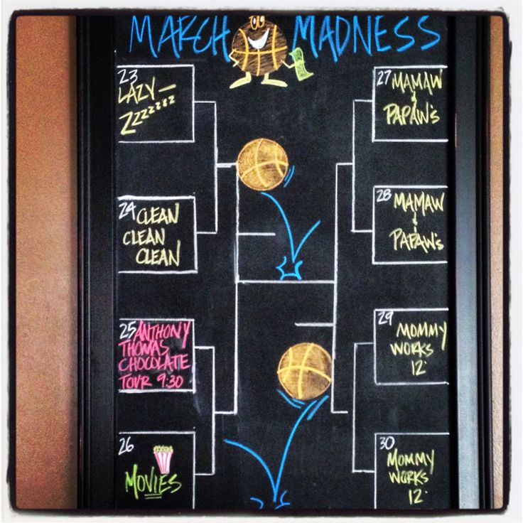 November Chalkboard Calendar Ideas : March madness weekly chalkboard calendar