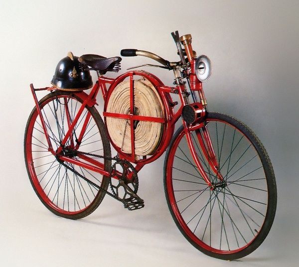 Fireman's bicycle from 1905 - not exactly a car, but a fireman's vehicle, so…