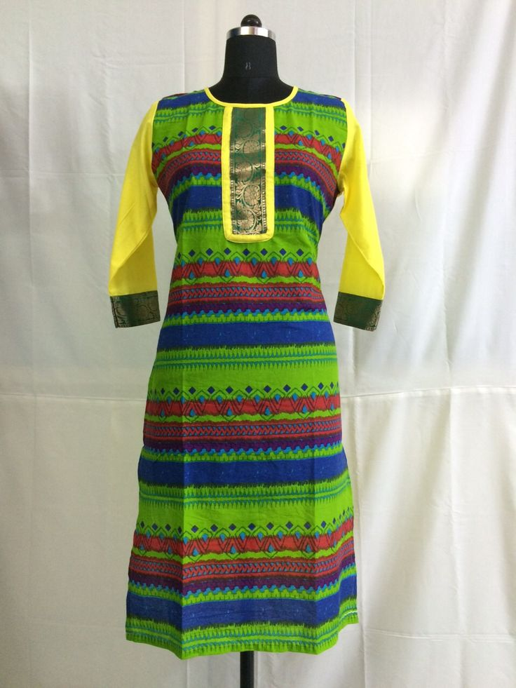 Multi color printed cotton kurti