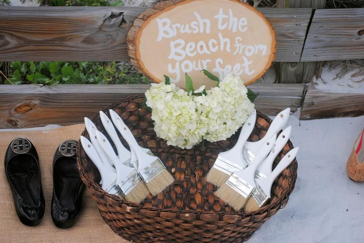Brush the Beach from your Feet!  Shoe Check Area...  www.mywhitesandwedding.com