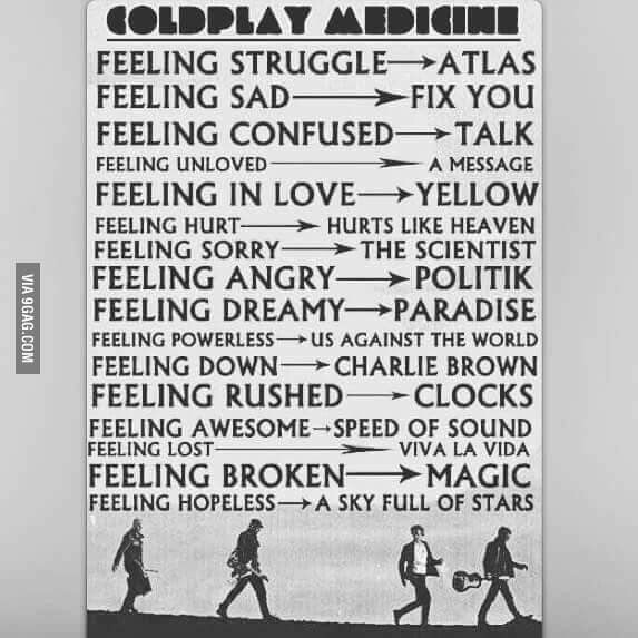 Coldplay songs for life