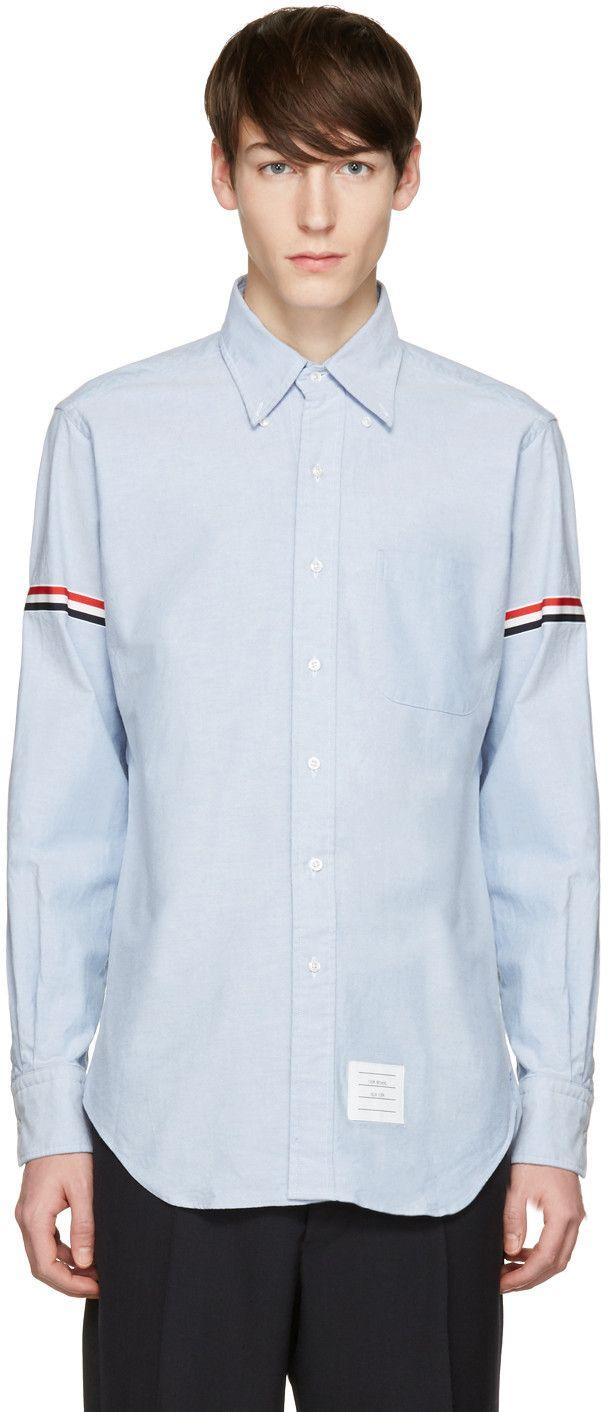 THOM BROWNE Blue Oxford Grosgrain Classic Shirt. #thombrowne #cloth #shirt