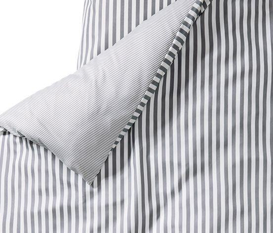 Microfaser-Bettwäsche, grau-weiß gestreift