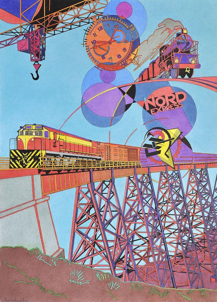 """""""Tren Estrella del Norte"""", es el tren de Tucumán ¿qué no evoca esta estampa sobre la fragilidad del puente? Sobre todo el cine donde el tren, junto a la intriga -el suspense- nos ocupó gran parte de nuestros sueños. ¡Viva el tren!"""