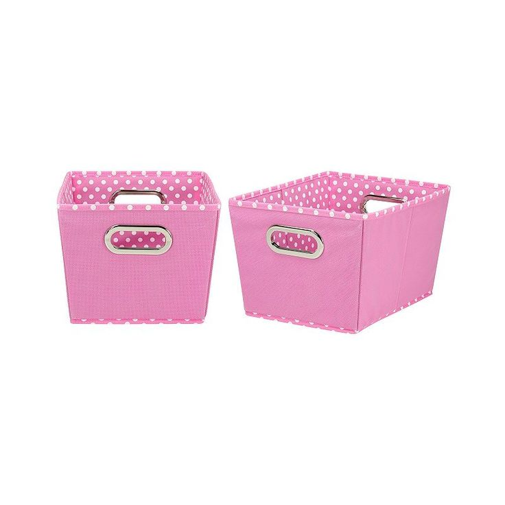 Household Essentials Mini Dot 2-pk. Collapsible Storage Bins - Small, Brt Pink