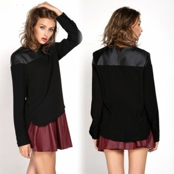 New Women's Clothing Tops Blouses Work Wear Long Sleeve Synthetic Leather Blouse