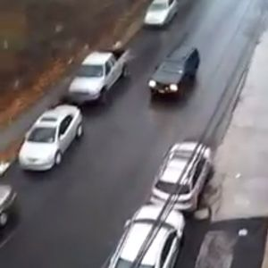 Car slips and slides down a steep road in Yonkers, New York