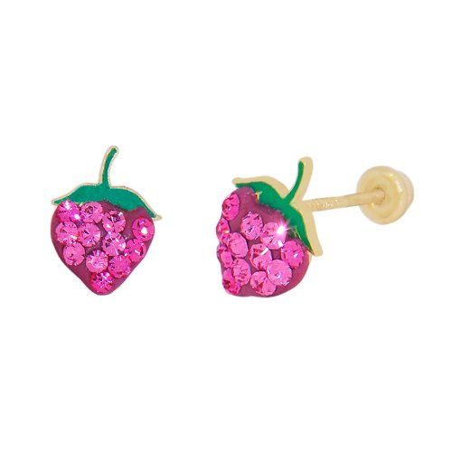 14k Yellow Gold, Red Green Enamel Coated Mini Strawberry Design Stud Screw Back Earring Lab Created Gems - Jewelry For Her